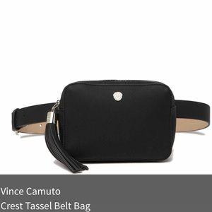 Vince Camuto Tassel Belt Crest Bag Black NWT